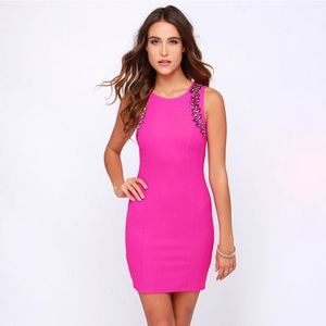 LULUs Fuchsia Beaded Dress